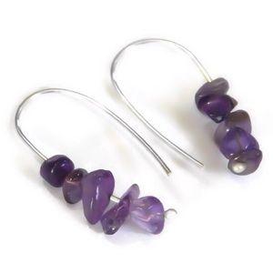 925 amethyst hooked on hoop earrings